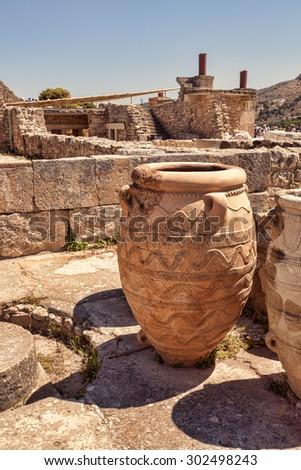 Clay jars at Knossos palace. Crete, Greece. - stock photo