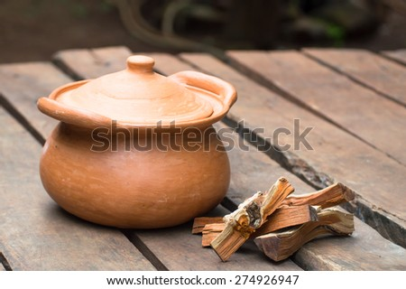 clay pot for herbal steam - stock photo