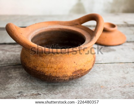 Clay pot of traditional pottery. - stock photo