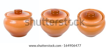 Clay pots for cooking isolated on white background - stock photo