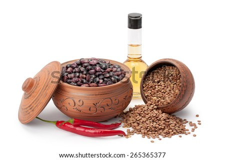 clay pots legumes olive oil hot pepper isolated on white background - stock photo