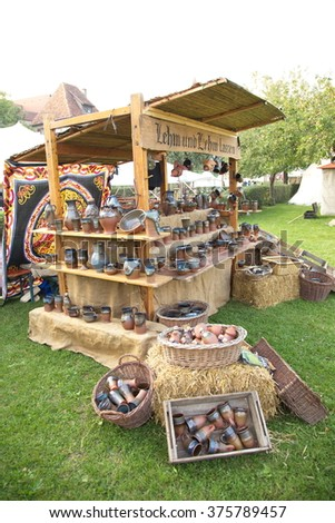 Clay pottery booth, Rothenburg, Germany - stock photo