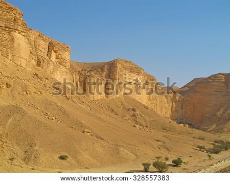 Clay rocks surrounding Riyadh city in Saudi Arabia                                - stock photo