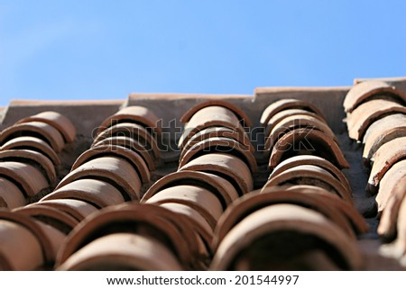 Clay Tiles on the ancient Santa Catalina convent in Arequipa, Peru - stock photo