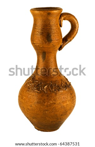 clay vase on the white background - stock photo