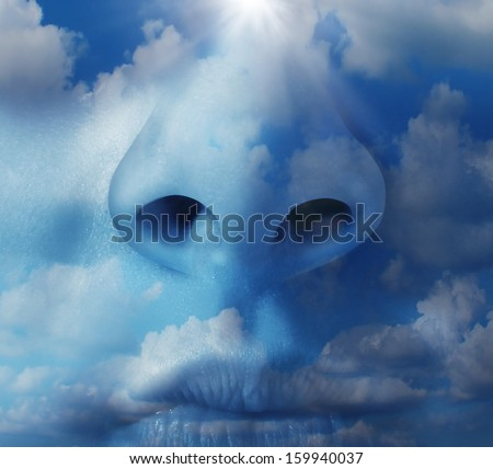 Clean air environment concept as a human nose with a blue sky texture as a symbol of respiratory illnesses and environmental health  concerns in regards to airborne pollution and greenhouse gases. - stock photo