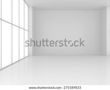 Clean and empty white room with large windows. 3d render - stock photo