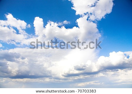 clean blue sky background with white clouds - stock photo