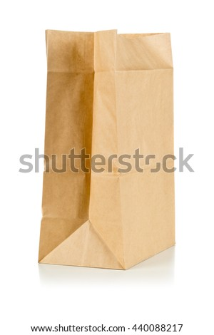 Clean brown paper bag  from recycled paper on white background - stock photo