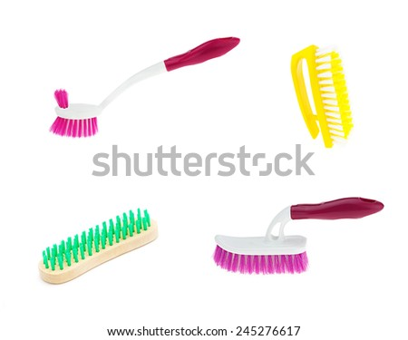 Clean brush on white background, set 4. - stock photo