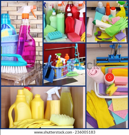 Clean concept. Cleaning supplies and tools collage - stock photo