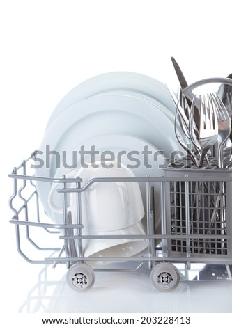 Clean dishes drying on metal dish rack, isolated on white - stock photo