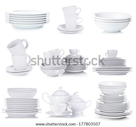 Clean dishware isolated on white - stock photo