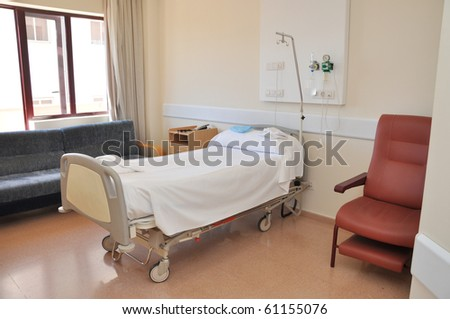 Clean Empty Hospital Room Ready for One Patient - stock photo