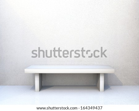 Clean empty room with wooden floors and textured wall and bench in white - stock photo