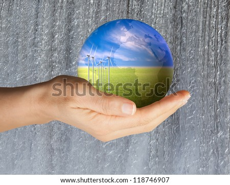 clean energy, dam flowing water background - stock photo