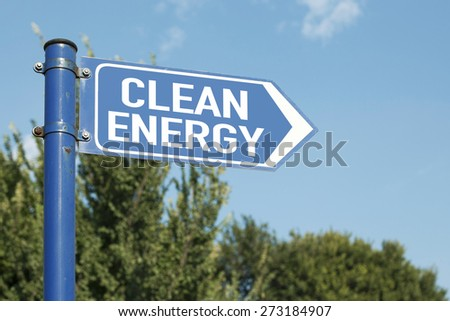 Clean Energy Road Sign - stock photo