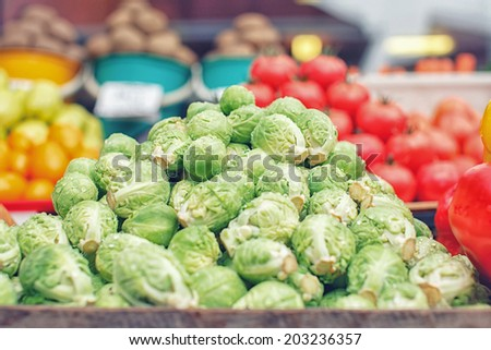Clean fresh green brussels sprouts - stock photo