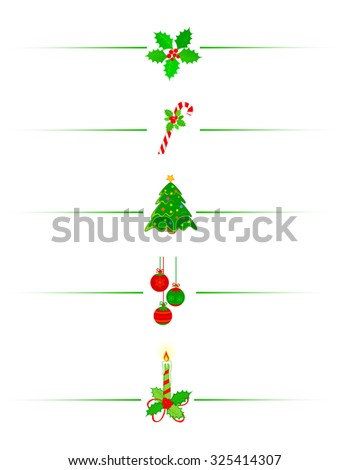 Clean Holly leaves and berries, candy cane christmas tree and x mas candle holiday border /divider - stock photo