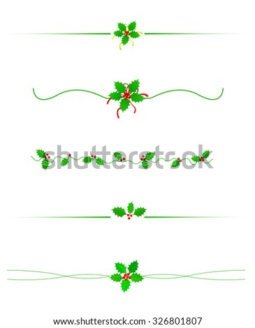 Clean Holly leaves and berries Christmas/holiday border /divider collection isolated on white - stock photo