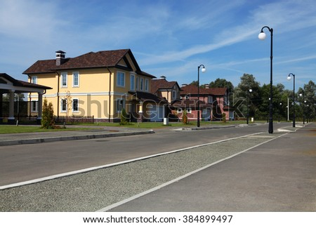 Clean, idyllic, peaceful neighborhood in America - stock photo