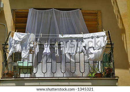 Clean Laundry Hanging out to dry - stock photo