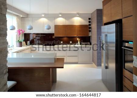 Clean modern kitchen - stock photo