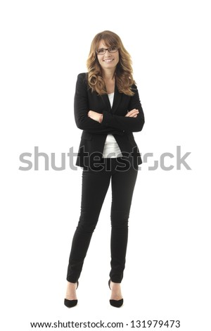 Clean modern portrait of a mature professional business woman with ample copy space. Isolated on white background. - stock photo
