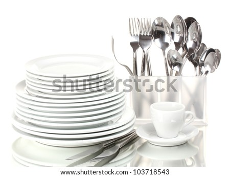 Clean plates and cutlery isolated on white - stock photo