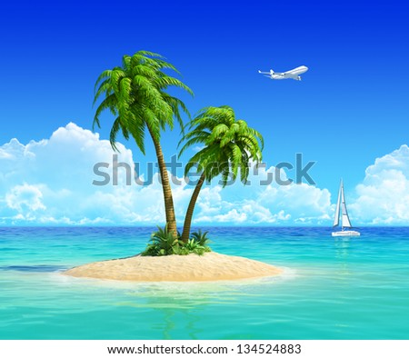 Clean sand beach on tropical island with palm tree, also with yacht and airplane on background. Concept for rest, holidays, resort, travel, trip and vacation. - stock photo