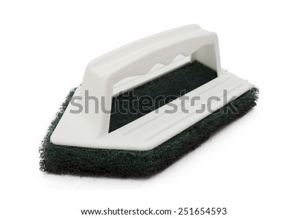 Clean scrubber isolated on white background, green fiber scourer with plastic handle - stock photo