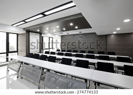 Clean simplicity office conference room interiors - stock photo