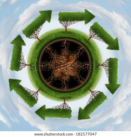 Clean the air environment and conservation concept with a group of global arrow trees going round in a circle as a nature symbol of cleaning the globe of pollution and toxins through a natural cycle. - stock photo