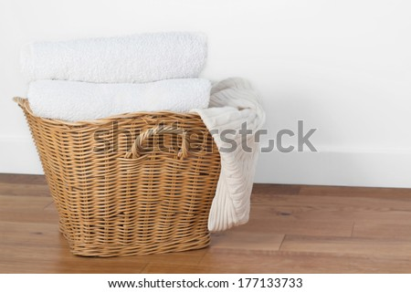 clean white laundry - stock photo