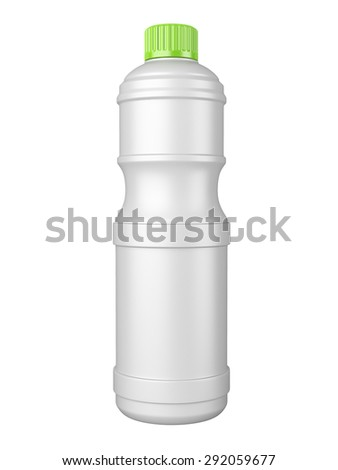 clean white plastic bottl with detergent. 3d image isolated on a white background. - stock photo
