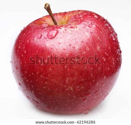 Cleaned red apple with water drops on it. Isolated on a white background. - stock photo