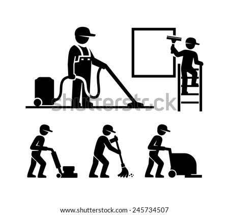 Cleaner Man working Pictogram Figure icons  - stock photo