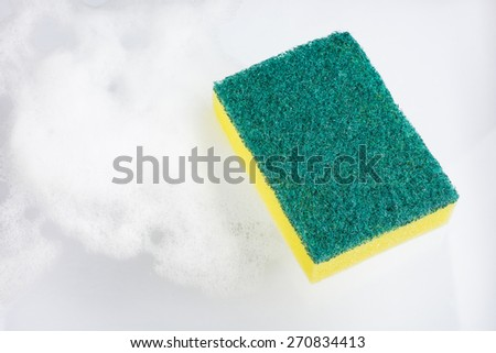 cleaners, detergents, household cleaning sponge for cleaning with foam. - stock photo