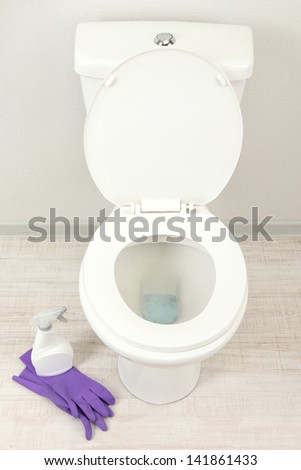 cleaning a toilet bowl in a bathroom - stock photo