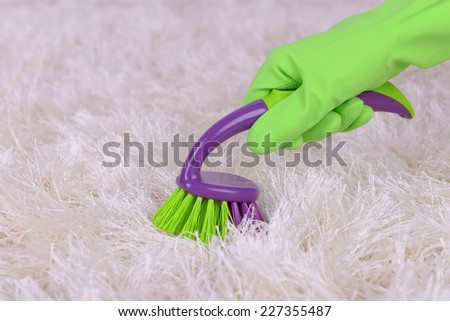 Cleaning carpet with brush close up - stock photo