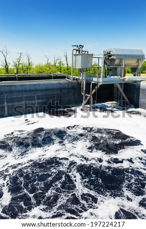 Cleaning construction pool for sewage treatment , waste water - stock photo