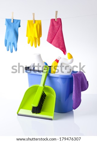 cleaning detergents and items - stock photo