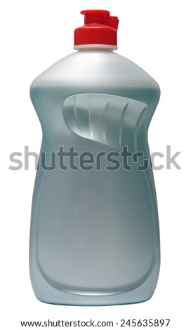 cleaning equipment isolated on white background.colored plastic bottles with Detergent isolated on white background .  - stock photo
