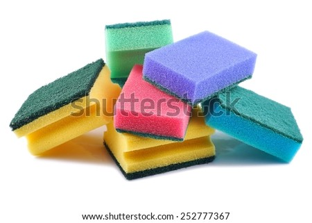 Cleaning equipment, sponge cleaner on a white background - stock photo