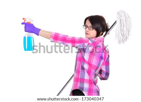 Cleaning girl standing with mop and glass cleaner - stock photo