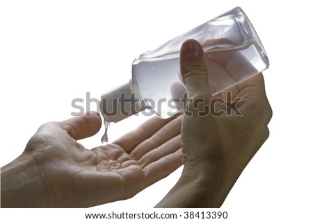 Cleaning hands with alcohol gel by swine influenza virus - stock photo