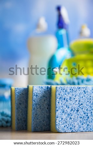 Cleaning, home work colorful theme - stock photo