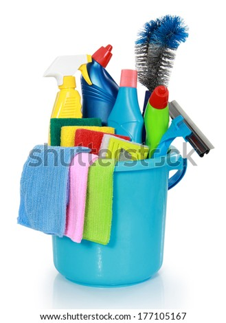 Cleaning items in bucket isolated on white background - stock photo
