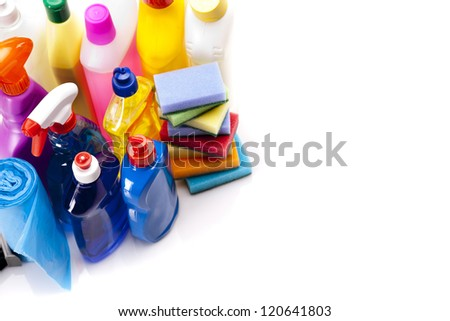 Cleaning items isolated on white background - stock photo