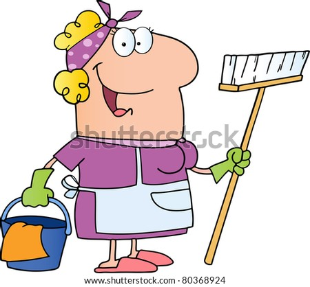Cleaning Lady Cartoon Character.Vector version also available - stock photo
